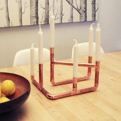 Candélabres de tuyau de cuivre / bougie titulaire / centre espacés de six bougies