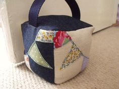 Freehand Machine Embroidery Bunting Door Stop made by Forget-Me-Not Crafts