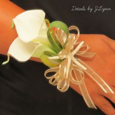 Wedding Wrist Corsage White Calla Lily and by detailsbyjlynn