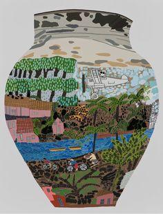 JONAS WOOD Frimkess Chilean Landscape Pot, 2015 Oil and acrylic on canvas 118 × 90 inches × cm) © Jonas Wood Jonas Wood, Gagosian Gallery, Art Beat, Museum, Thing 1, Graphic Illustration, Collage Art, Art Lessons, Creative Art