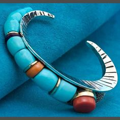 Turquoise Bracelet Native American southwest with Gold by Wes Willie