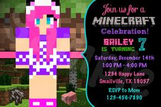 Customized Girl Minecraft Invitation. Listing is for one printable 4 x 6 digital design! HOW TO PURCHASE: 1. Add item to your cart and follow checkout