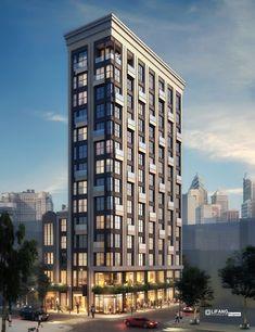 Condominium Architecture, Residential Architecture, Architecture Design, Building Facade, Building Design, Condo Design, Interior Design, Building Development, Minecraft City