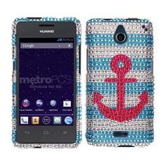 Get the #Huawei #Ascend #Plus #H881C #Hard #Case #Cover - Pink Anchor On Teal White With Full Rhinestones w/ Free Shipping in The U.S.A. It makes your phone more cute with sparkling crystal! Only $12.99, you can get the design which you like! Only have at @Acetag!