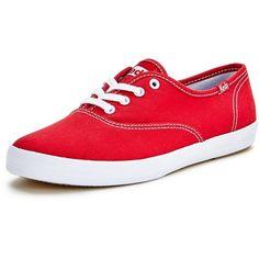 online store 32cea a5c6b Keds Core Champion Red Lace Up Canvas Shoes ( 23) ❤ liked on Polyvore  featuring