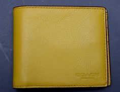 NWT Coach $175 Men's Sport Calf Leather Compact ID Flax Billfold Wallet F74991