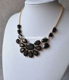 Black Necklace Statement Necklace Bib by Blueoceanjewellery, $12.90