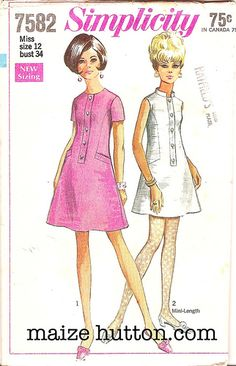 Dress Mod Mini Simplicity 7582 Bust 36 Vtg Pattern Stand Up Collar Vintage Outfits, Robes Vintage, Vintage Dresses, Retro Mode, Vintage Mode, Retro Fashion 60s, Vintage Fashion, Vintage Dress Patterns, Clothing Patterns