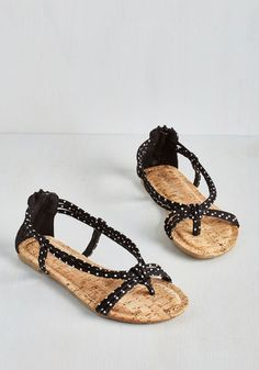 Silly Dally Sandal in Ink. Inspired by the whimsical polka-dotted print of these black sandals, youd rather skip than stroll! #black #modcloth
