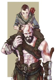 God of War - Fan Art - Happier Times with Kratos and Atreus Fantasy Characters, Anime Characters, Boy Meme, Kratos God Of War, Gaming Wallpapers, Fan Art, Norse Mythology, Geek Culture, Overwatch