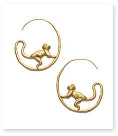 Tory Burch - Tory Burch Monkey Hoop Earring : Women's New Arrivals Clay Earrings, Clay Jewelry, Gold Jewelry, Jewelry Accessories, Fashion Accessories, Jewelry Design, Fashion Jewelry, Hoop Earrings, Jewellery