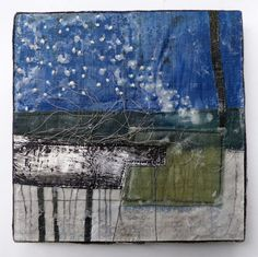 Linen, wire, wax.20 x 20cms, mounted on painted board with a waxed linen 'frame'.