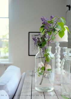 {me and Alice: I love jars + the last lilacs}