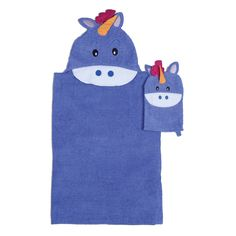 This adorable unicorn designed hooded bath wrap features a coordinating wash mitt for Tub Time for Tots. This cotton construction is also great for the pool or beach.