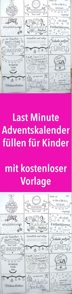 Last minute advent calendar for kids – time instead of stuff – Weihnachten Advent Calendars For Kids, Kids Calendar, Last Minute Halloween Costumes, Diy Halloween, Baby's First Ornament, Diy Crafts To Do, Pinterest Blog, Birthday Gifts, About Me Blog