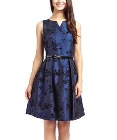 Another great find on #zulily! Glamour Navy Floral Belted Fit & Flare Dress by Glamour #zulilyfinds