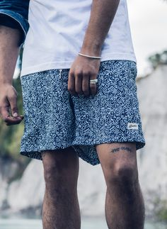 Bather - Resort 2018 Collection featuring the Blue Doodle Swim Trunk