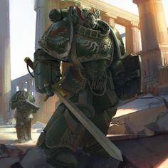 Space Marine by hammk Warhammer Dark Angels, Dark Angels 40k, Warhammer 40k Art, Warhammer 40k Miniatures, Warhammer Fantasy, Salamanders Space Marines, Sci Fi Fantasy, Space Fantasy, Marvel