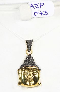 Buddha design Pendant in 925 Sterling Silver with Gold Plating with oxidized Pave Diamonds