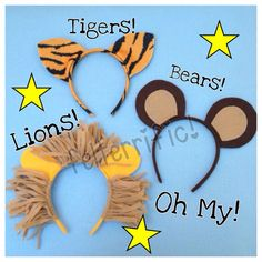 Handmade Animal Ear Headband Lion Tiger or Bear by felterrific, $5.00