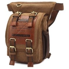 Kaukko Unique Vintage Canvas Waist Backpack Motorcycle Bag - Free Shipping On Orders Over $45 - Overstock.com - 18183771 - Mobile