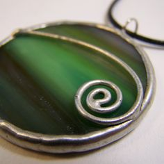 Neptune Swirl - Stained Glass Pendant with Black Cord by faerieglass