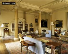 The drawing room Sat in that blue chair.   Hovingham Hall