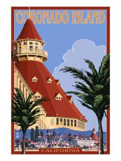 San Diego, California - Hotel Del Coronado Art Print