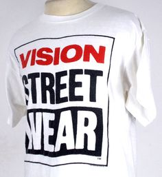 1987 Vision Street Wear Skateboarding Classic Logo Vintage T Shirt XL Condition: Lightly Worn Size: XL Color: White Material: 100% Cotton