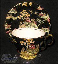 4:00 Tea...Royal Winton...Black Pekin Chintz (a 1950's chinese design)...antique teacup and saucer