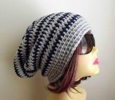Crochet Slouchy Beanie Pattern Free | Handmade Hat Slouchy Beanie Crochet Slouch Hat Grey, Navy Beanie ..._FOR DIANE?