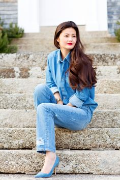 Peony Lim - American Apparel shirt, MiH jeans, Manolo Blahnik shoes.  (April 2013)