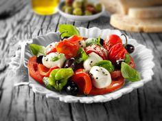 Mozerella, pasta, olives and tomato salad