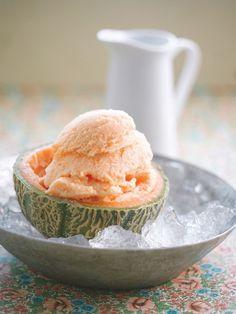 bereiden: Verwijder de pitjes uit de meloenen en haal het vruchtvlees voorzichtig van de schil zonder de schil te beschadigen. Leg de stukjes meloen in een diepvriesbestendige schaal en laat ± 4 u. invriezen. Haal pas uit de vriezer als de stukjes bevroren zijn. Zet ook de uitgelepelde meloenschillen in de diepvries. Haal de stukjes meloen uit de diepvries en mix met de koude vanilleyoghurt. Hou je van lekker zoet, voeg er dan 1 el poedersuiker aan toe. Plaats 5 à 10 min. terug ...