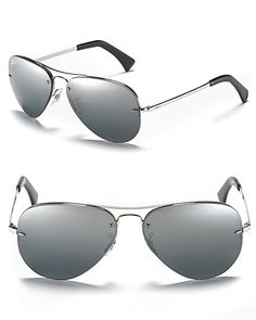 Ray-Ban Polarized Rimless Aviator Sunglasses | Bloomingdale's