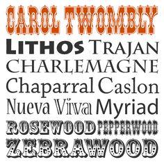 Carol Twombly typographer. Lithos, Trajan, Charlemagne, Chaparral, Caslon, Nueva, Viva, Myriad, Rosewood, Pepperwood, Zebrawood http://blog.webink.com/carol-twombly-web-fonts/