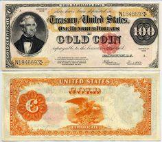 STRANGE US DOLLAR BILLS FROM THE PAST - 1922 - $100.00 GOLD COIN CERTIFICATE BILL -