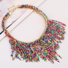 Разноцветное женское ожерелье , массивное колье , плетеное колье для женщин