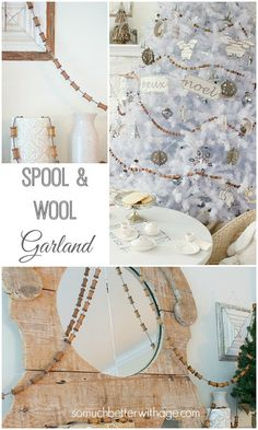 Spool and wool garland is super easy to make and will add a nice touch to your Christmas decor as you can use it to decorate your tree or your mantel. Apple Garland, Christmas Tree Garland, Noel Christmas, Christmas Decorations, Christmas Design, Christmas Stocking, Sewing Room Decor, Holiday Crafts, Holiday Ideas