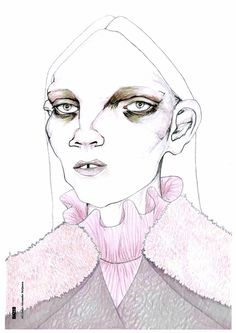 ILLUSTRATOR: Anna Wright WEEK Coloured pencils & the fashion figure FROM: London YEAR: Unknown MATERIALS USED: Coloured Pencils. Disproportionate facial features yet harmonious due to the simple use of lines with minimal use of colours. Fashion Illustration Face, People Illustration, Illustration Art, Sketchbook Inspiration, Art Sketchbook, Mode Inspiration, Anna Wright, Fashion Sketches, Fashion Sketchbook