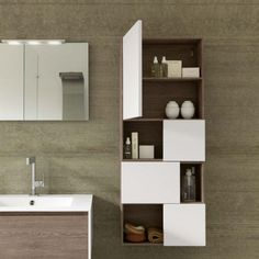 Mobile bagno sospeso in Rovere Castoro con elementi a vista Tulle Archeda - particolare pensile