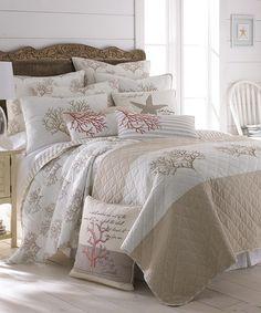 Love this Beige Coral Quilt Set on #zulily! #zulilyfinds