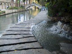 San Antonio Riverwalk, San Antonio, Texas.    This photo shows the picturesque curves of the Riverwalk and San Antonio River.