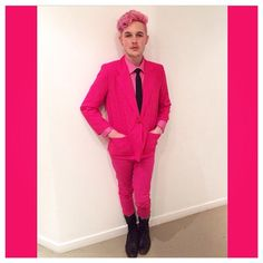 @lukasrobinhood is one of our favorite #DyeHards with his #CottonCandyPink hair and his amazing fashion sense.
