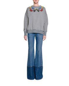 -6PYD Alexander McQueen Butterfly-Embellished Cotton Sweatshirt, Gray Two-Tone Denim Flare-Leg Jeans