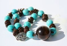 Wood and Turqoise Necklace by BellissimaDesigns on Etsy, $20.00