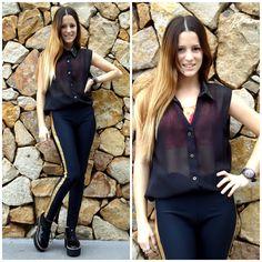 ♥ LOOK OF THE DAY 19-09-2012 ♥  ♥ Camisa Cuello Cuerina Negra   ♥ Top Batik  ♥ Calza de Lycra Negra con Dorado  ♥ Brooklyn Creepers Charol Negro