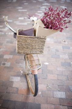 bicycle, basket, flowers
