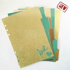 Set of 5 A5 Planner Dividers | Filofax Dividiers | Mint and Gold Glitter Planner Dividers by TheMerrieWanderer on Etsy https://www.etsy.com/listing/219569212/set-of-5-a5-planner-dividers-filofax