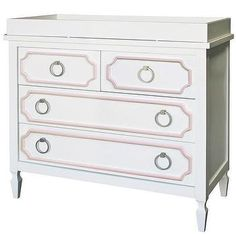 Beverly White with Pink Trim Dresser I Annette Tatum Kids